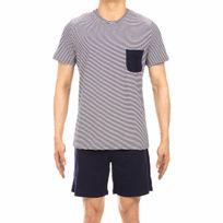 8c94ba45564 Pyjama court Zen en coton   tee-shirt col rond à rayures bleu marine et