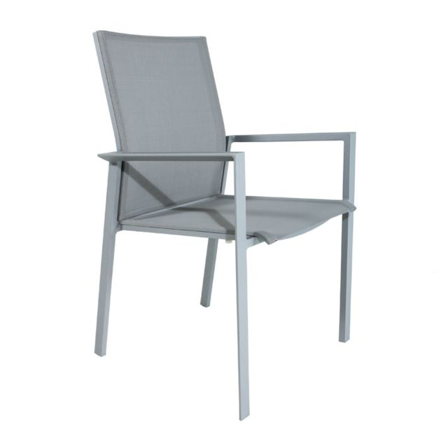 Gecko Jardin Lot de 2 chaises en alu et textilène gris Gazzo