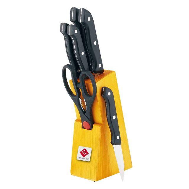 Bergner Set de couteaux, acier inoxydable, noir, 28 x 16 x 16 cm, lot de 7