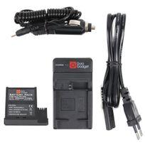 Duragadget - Chargeur 2 en 1 + 1 batterie pour Pnj Aee MagiCam S51, S71, S70+ / S70 et S77 Extrême, Extrême F2, Light, Light F2