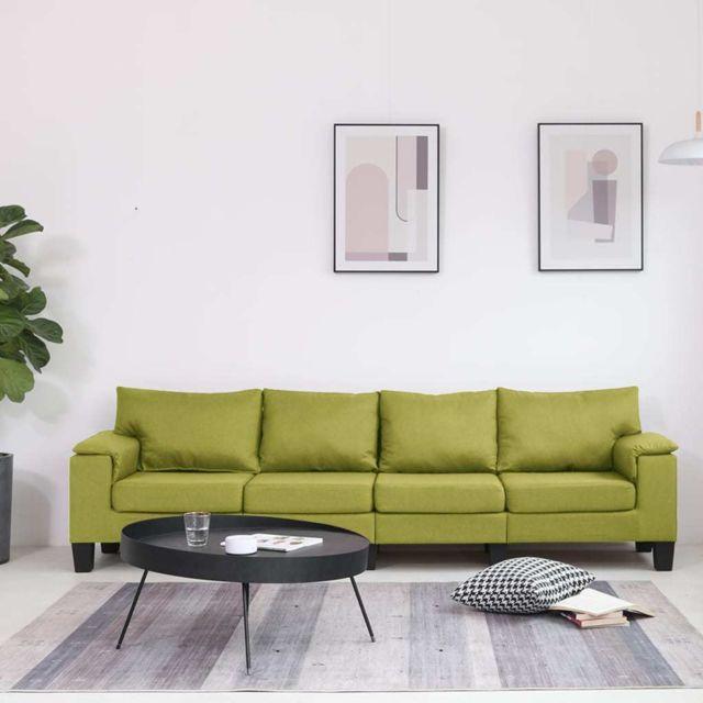 Vidaxl Canapé à 4 places Vert Tissu