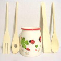 B.E.C. - Pot de cuisine Coccinelle + 4 ustensiles