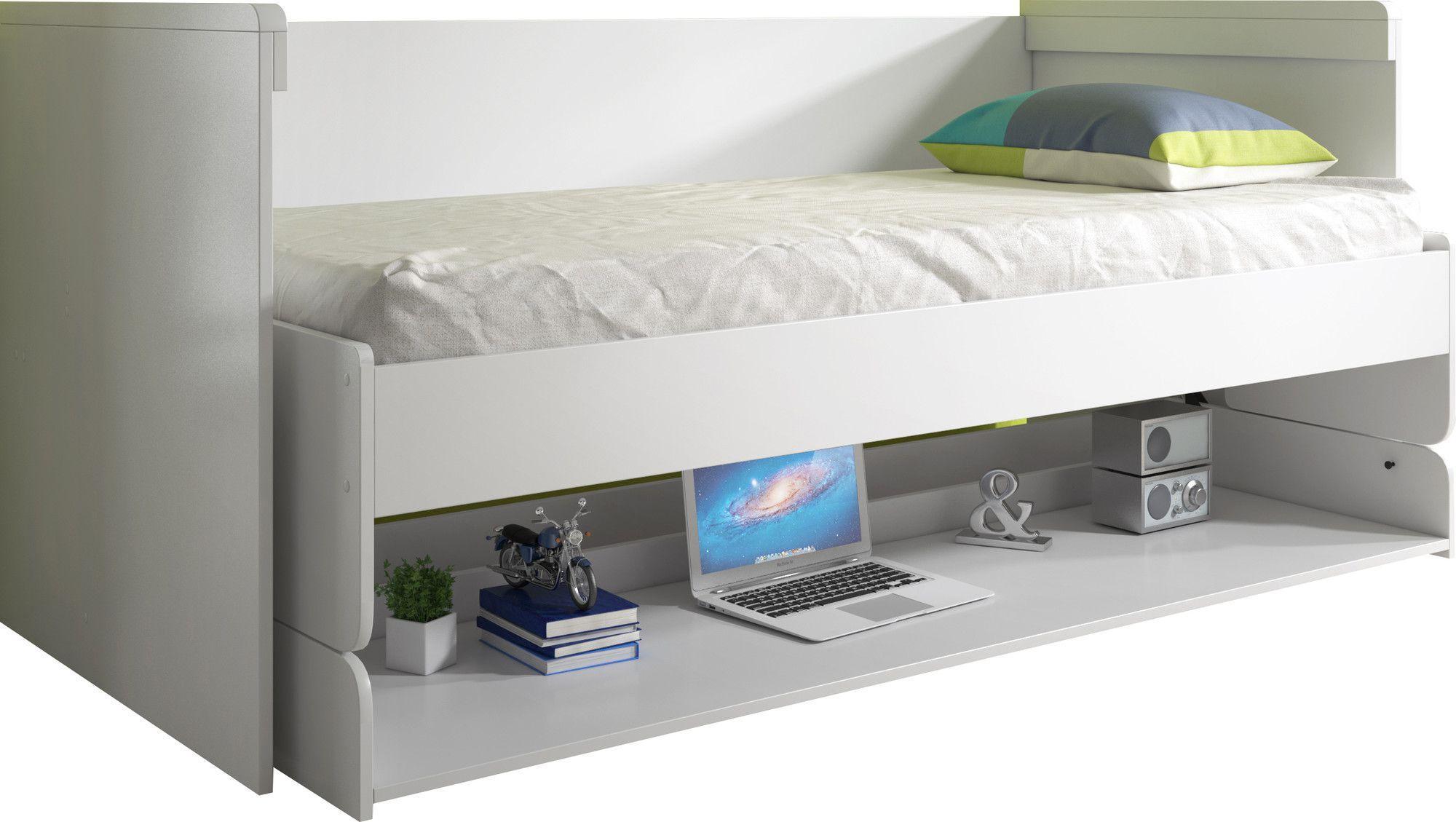 Lit-bureau combiné 90x200 en MDF coloris blanc