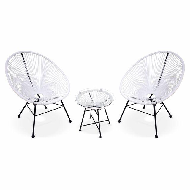 ALICE'S GARDEN Ensemble de 2 fauteuils Acapulco chaise oeuf design rétro, avec table d'appoint, cordage Blanc