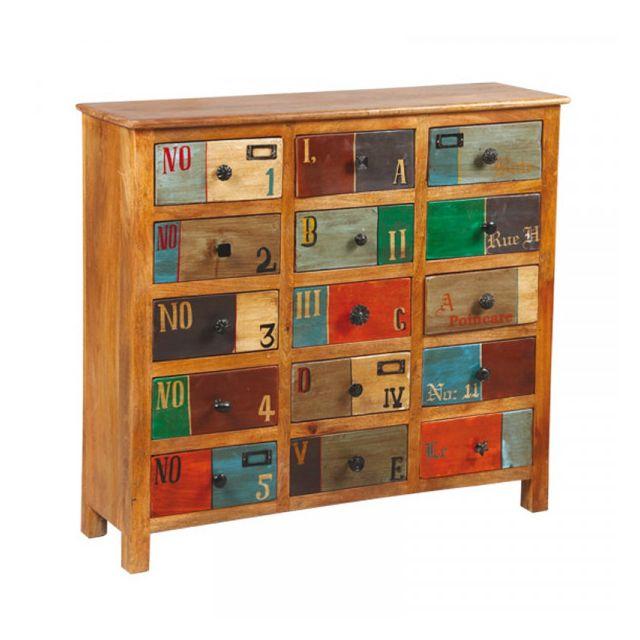 Dansmamaison Commode 15 tiroirs en bois de Palissandre - Verden - L 100 x l 31 x H 91 cm