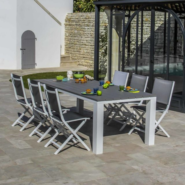 Proloisirs - Salon de jardin Alu 6 places : Table 220x100x74cm Elena ...