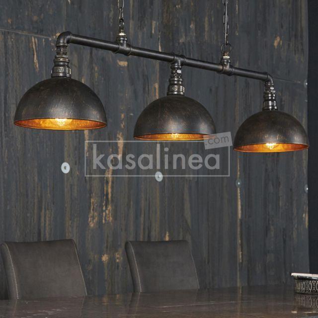 Kasalinea Luminaire industriel noir et bronze Vertigo