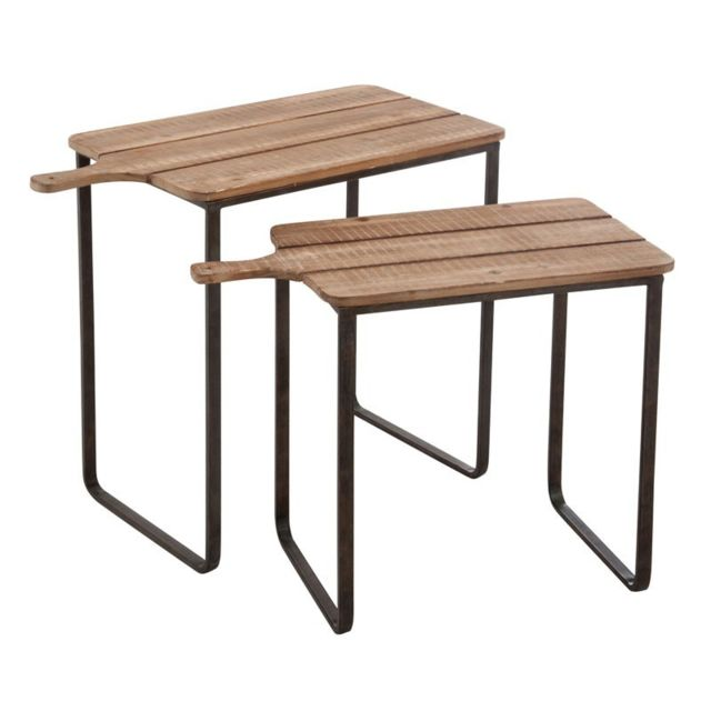 Tousmesmeubles Tables gigognes Métal/Bois naturel - Platos - L 70 x l 36 x H 57