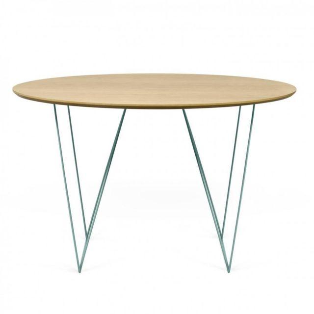Inside 75 Table fixe Otmar 120cm plateau bois piétement vert