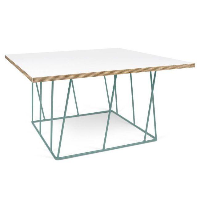 Table basse carrée Helix 75 plateau blanc mat/bois structure laquée verte