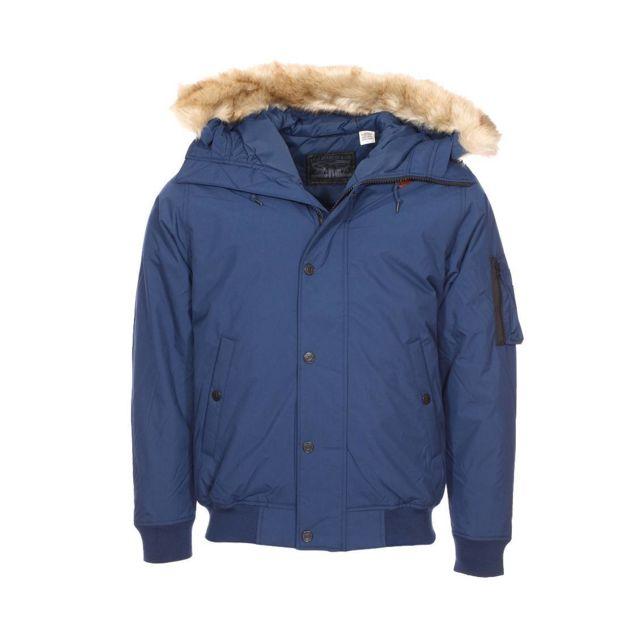 Levi S - Blouson à capuche à fourrure amovible bleu pétrole XL - pas cher  Achat   Vente Blouson homme - RueDuCommerce e9b57fa100c5