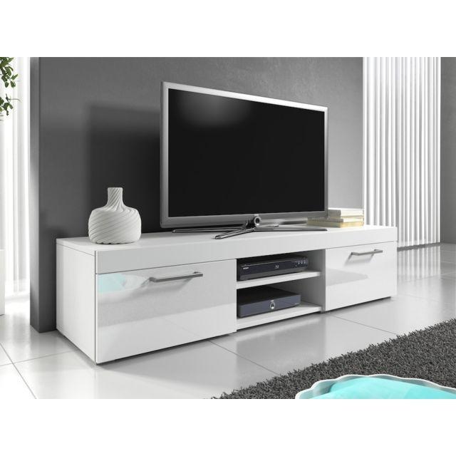 Mpc Meuble tv 140 cm blanc mat et portes laquées