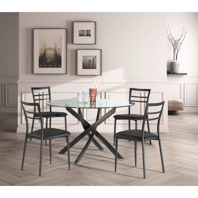 RUE DU COMMERCE Ensemble table ronde + 4 chaises - 120 cm - Noir - I-5939-NE