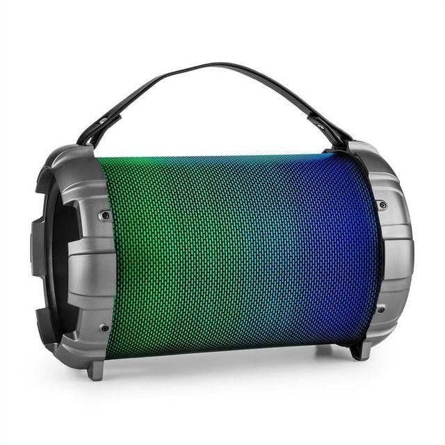 AUNA Dr.Bang Enceinte BT 40W max USB microSD AUX 2x prise MIC 6,3mm LED - argent