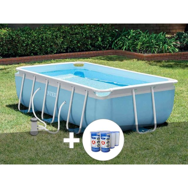 INTEX - Kit piscine tubulaire Prism Frame rectangulaire 3,00 x 1,75 x 0,80  m + 6 cartouches - pas cher Achat   Vente Piscine Tubulaire - RueDuCommerce 833f14efa369