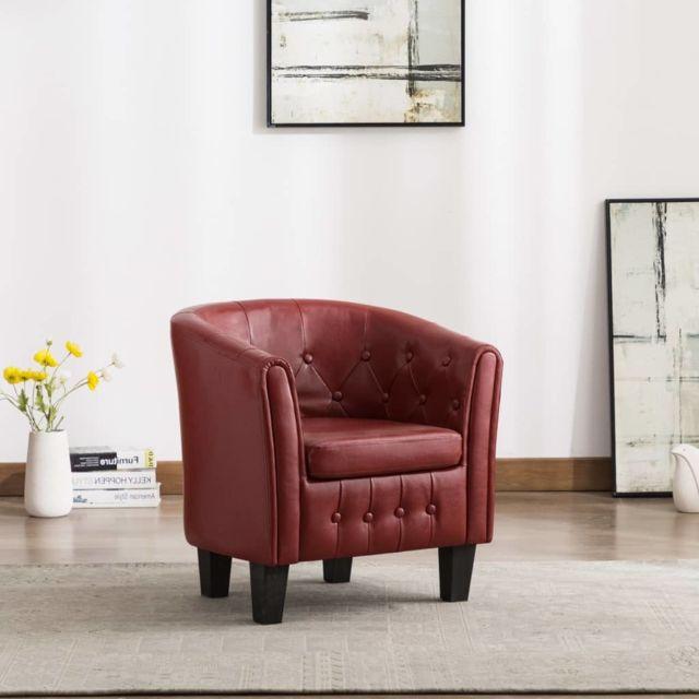 Vidaxl Fauteuil Rouge Bordeaux Similicuir Salon Salle de Séjour Chambre Maison