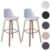 Mendler - 2x tabouret de bar Palmdale, chaise de comptoir avec dossier ~ tissu, blanc