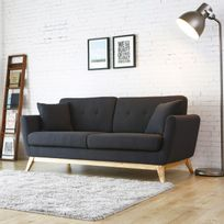 Höga : Canapé scandinave 3 places gris anthracite + 2 coussins