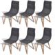 Rocambolesk - Superbe 6 pcs Chaise de salle à manger Gris foncé Neuf