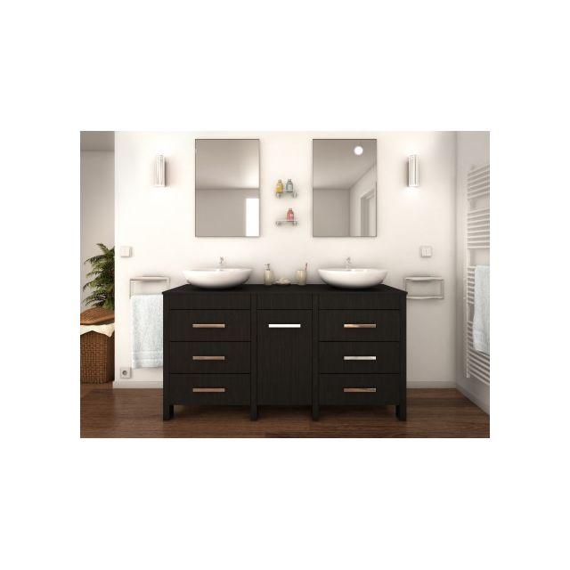Vente-unique - Ensemble de salle de bain avec double vasque et ...