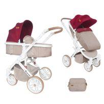 Lorelli - Poussette combinée 4 roues et couvre jambes Luna Rouge