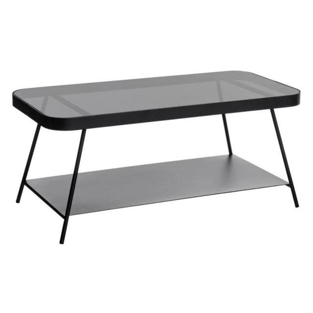 Tousmesmeubles Table basse Métal/Verre Noir - Block