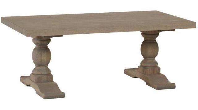 COMFORIUM Table fixe contemporaine 220 cm en bois massif coloris gris éléphant