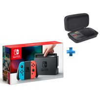 NINTENDO - Console Switch avec un Joy-Con rouge néon et un Joy-Con bleu néon + Pochette de transport Switch