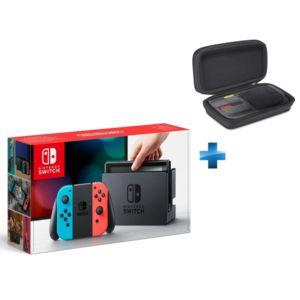 NINTENDO - Console Switch avec un Joy-Con rouge néon et un Joy-Con bleu néon + Pochette de transport Switch