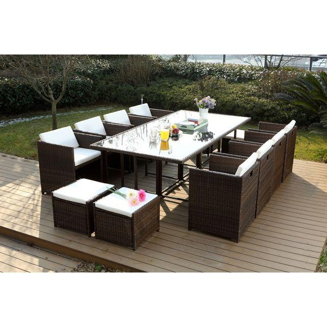 rocambolesk magnifique salon de jardin florida 12 marron. Black Bedroom Furniture Sets. Home Design Ideas