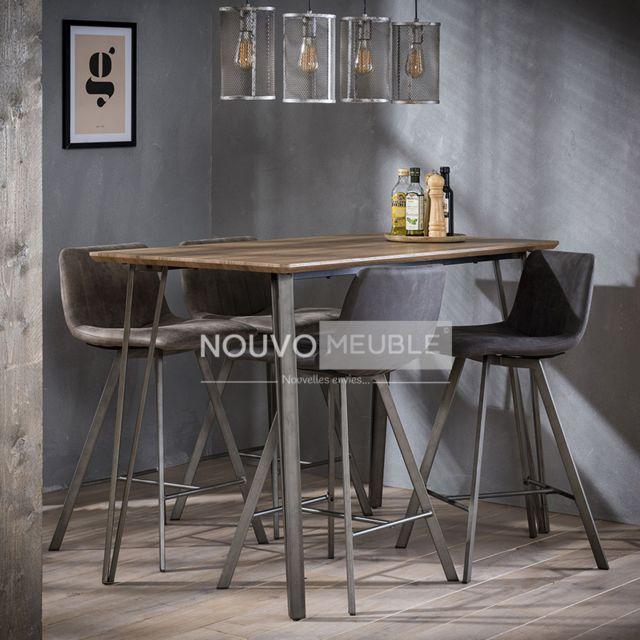 Nouvomeuble Table haute en bois et acier Dallas