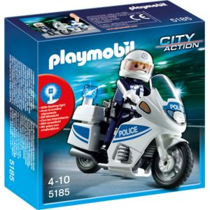 playmobil motard de police avec lumi re clignotante 5185 pas cher achat vente playmobil. Black Bedroom Furniture Sets. Home Design Ideas