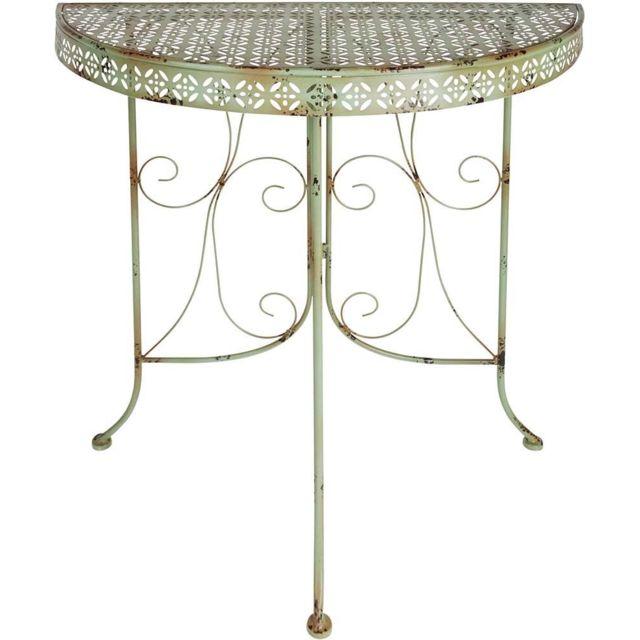 ESSCHERT DESIGN Table de jardin mi-ronde en métal