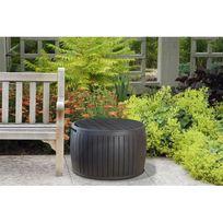 Keter - Coffre de jardin / table basse / assise en résine forme tonneau - Diam. 68cm - 132L