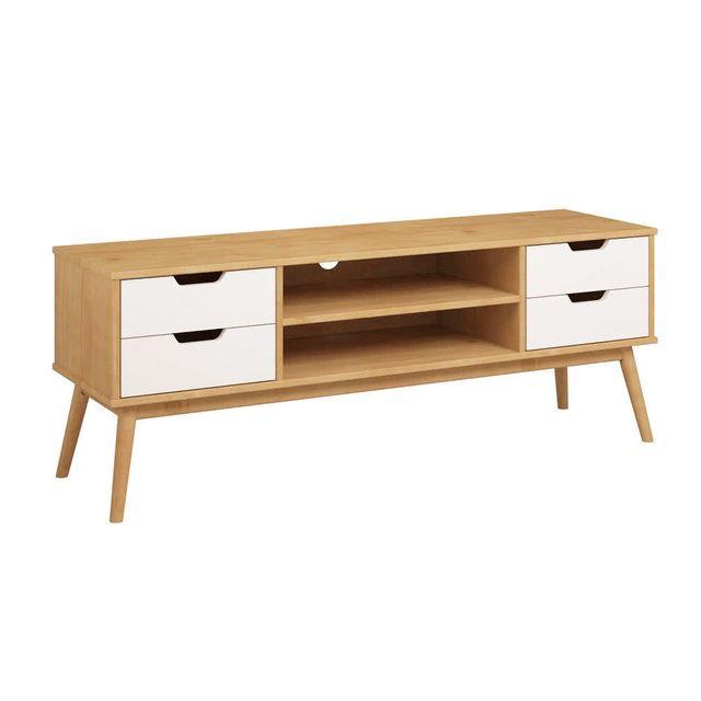 Kaligrafik Meuble tv en bois massif 1 porte 2 tiroirs Fifties - Blanc