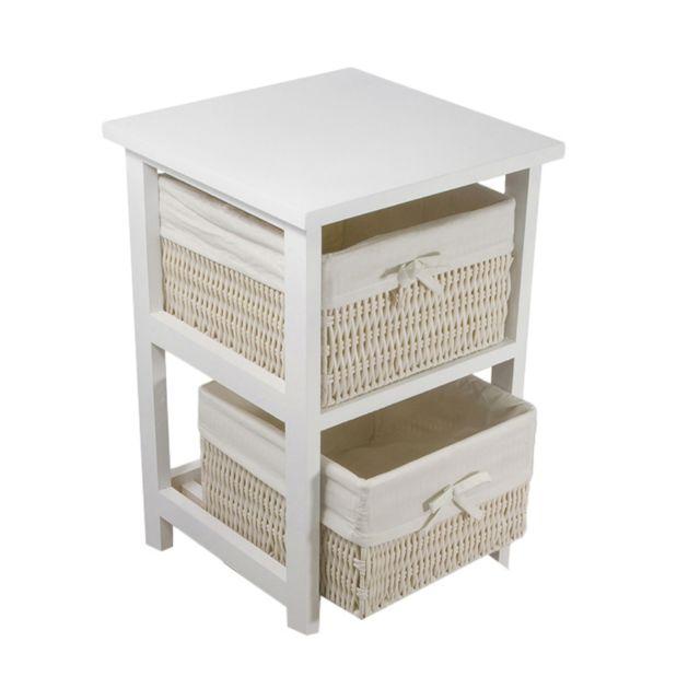 Tour modèle Palma . 3 étages et 2 tiroirs avec paniers en osier blanc. Structure en bois laqué ...