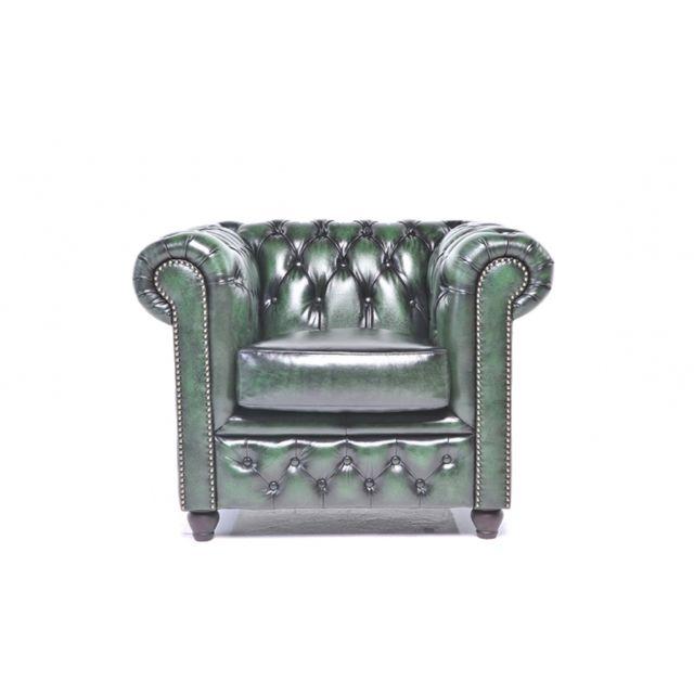 Chesterfield Origine Fauteuil Antique Vert