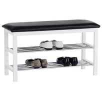 Idimex - Banc avec étagères à chaussures Sana, blanc/noir