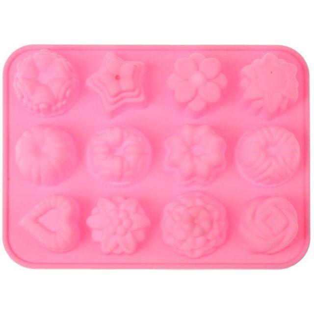 Yonis Moule silicone 12 pièces fleur cur étoile rose glaçon pâtisserie
