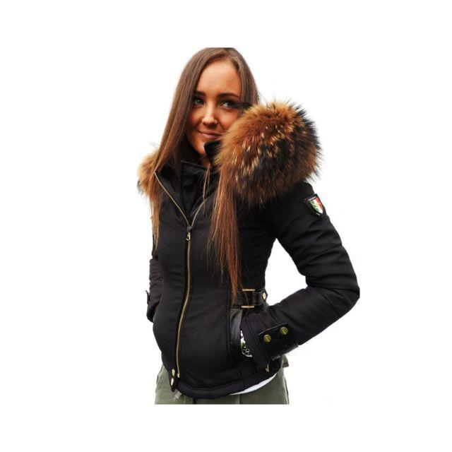 86a62fa09ad Ventiuno - Ventiuno Veste Perfecto Emily noir Bi-matière fourrure véritable  et cuir doudoune ventiuno
