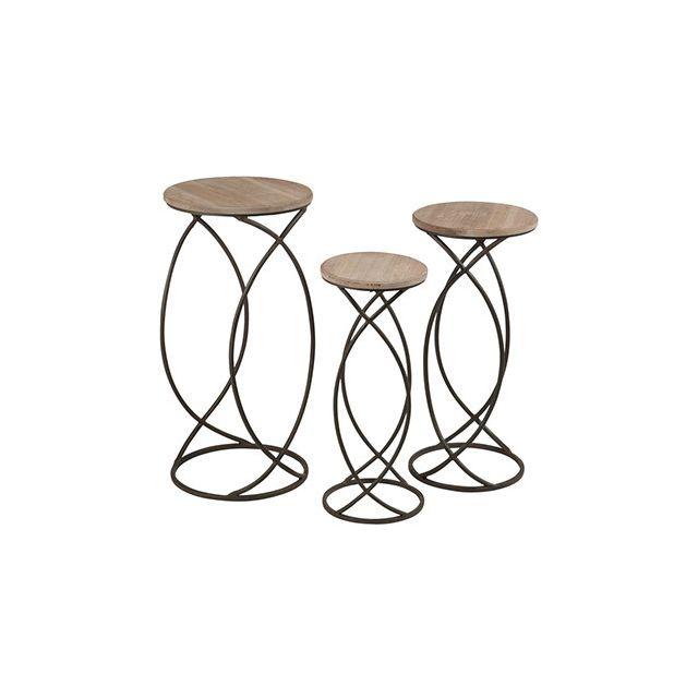 Set de 3 tables gigognes bois et métal