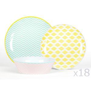 Kaligrafik service de table 18 pi ces en porcelaine couleur assortie scandi - Service de vaisselle pas cher ...