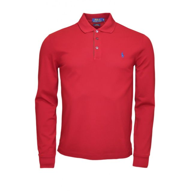 458b7558fabb Ralph Lauren - Polo manches longues Ralph Lauren rouge bordeaux pour homme