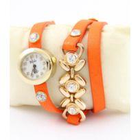 Yilisha - Montre Femme Triple Bracelet Cuir Orange Breloques 1334