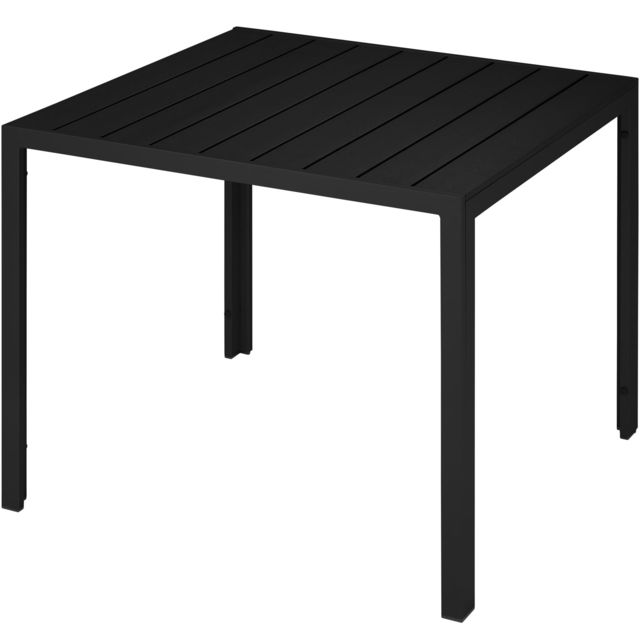 Table de Jardin Carrée, Table d\'Extérieur, Table de Salon, de Terrasse  Design en Aluminium 90 cm x 90 cm x 74,5 cm Noir