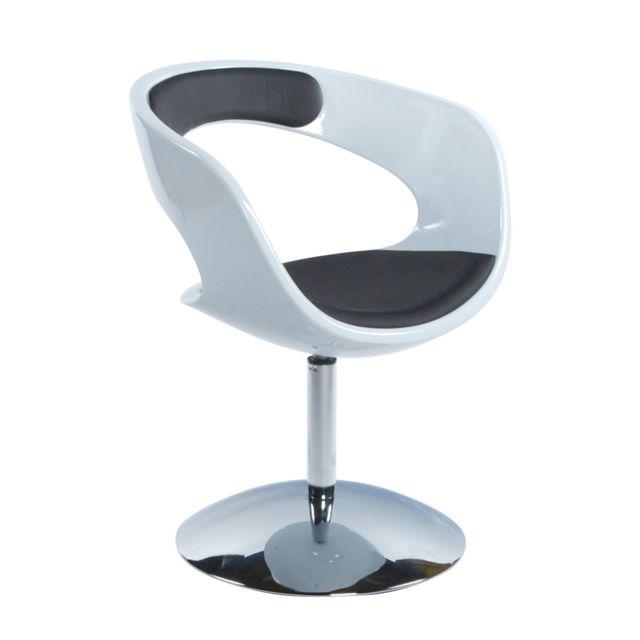 Marque Generique Fauteuil design 57x64x81cm Kirki - blanc et noir