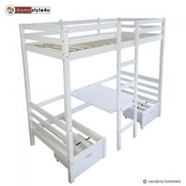 Homestyle4U - Lit enfant mezzanine superpos? blanc 90x200 pin massif bureau