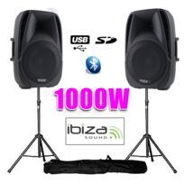"""Ibiza - Enceintes actives 15""""/38CM 1000W Usb/SD/BT + pieds"""
