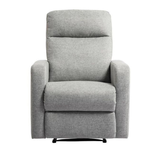 FAUTEUIL RICK Fauteuil de relaxation manuel - Tissu gris - Classique - L 76 x P 88 cm