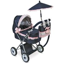 Decuevastoys - Landau de poupée bleu et rose avec ombrelle et sac pliable